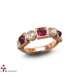 "koji mitani - ""kaku.maru""Ring  k18ruby,rosecut diamond Ring"