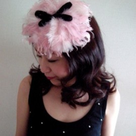 "1940's ""BURLESQUE!""  Pink Feather & Black Bow Hat"