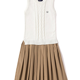 FRED PERRY - Cable Knitted Pleat Dress