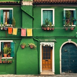 Burano,Italy - green walls house.