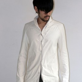 m.a+ - WHITE LEATHER DEERSKIN SHIRT