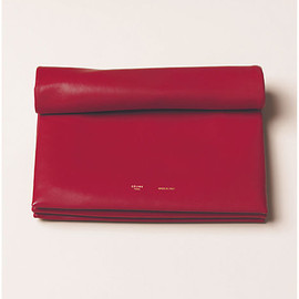 CELINE - Soft Trio Rolled Bag In Lambskin Bright Red
