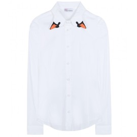 RED Valentino - SWAN EMBROIDERED COTTON SHIRT
