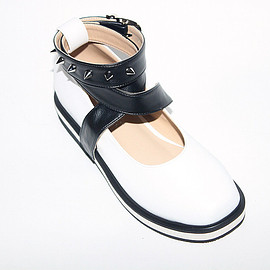 deandri - Jane Ballet Flats White and Black Straps with Silver Spikes + Layered Heel
