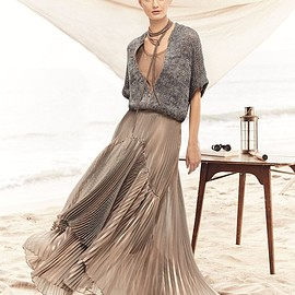 Brunello Cucinelli - Brunello Cucinelli Metallic Pleated Iridescent Tiered Maxi Skirt