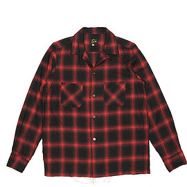 NEEDLES - Cut Off Bottom One Up Shirt-Ombre Plaid-Red