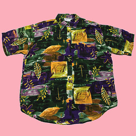 VINTAGE - Vintage 90s Purple/Yellow/Green Rayon Button Up Shirt Womens Size Large