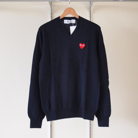 PLAY COMME des GARCONS - TOP紡毛ラムウール天竺(赤エンブレム) Sweater #navy