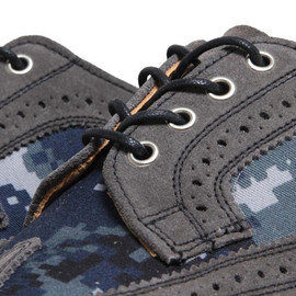 Mark McNairy New Amsterdam - Two Tone Long Wing Brogue Shoe   Grey Suede & Navy Camo