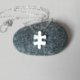 Luulla - sterling silver jigsaw puzzle necklace, version 3, handmade in England