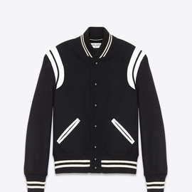 Saint Laurent Paris - Teddy Jacket In Black Virgin Wool And Off-White Leather
