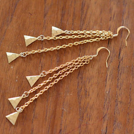 Image of Gold Triangle Droplet Earrings