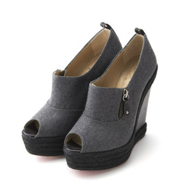 Christian Louboutin - Wedge Sole Open toe Wool Sandals