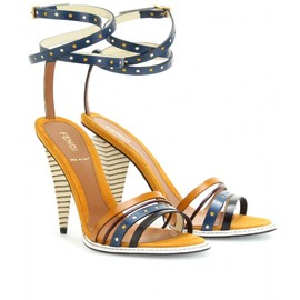 FENDI - COLOR-BLOCKED STRAPPY LEATHER SANDALS