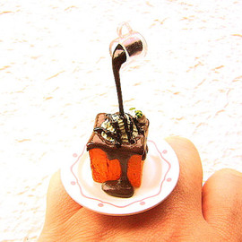 SouZouCreations - Kawaii Food Ring Chocolate Sauce Ice Cream on Bread Floating Japanese Ring