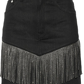 SAINT LAURENT - Studded leather-fringed denim mini skirt