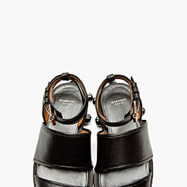 GIVENCHY - Black Nappa Leather Jewel Stud Sandals