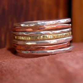 KarenLutherJewelry - Hammered Stack Rings