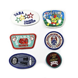 VINTAGE - Vintage 1990s 90s Bowling League Sportswear Retro Patches (Set of 6)