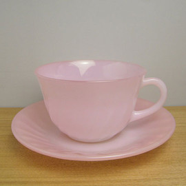 Fire King - Pink Swirl Cup & Saucer