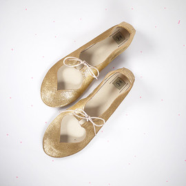 elehandmade - Heart Shaped Soft Golden bronze Handmade Ballet Flats