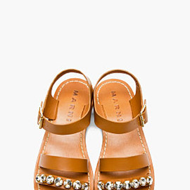 MARNI - Camel Embellished Leather Sandals