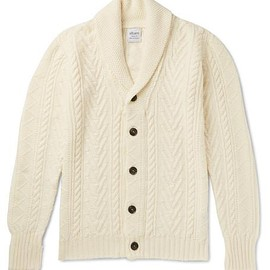 Albam - Shawl-Collar Cable-Knit Wool and Linen-Blend Cardigan
