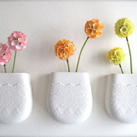 Hideminy - Porcelain Flower Lace Wall Pocket