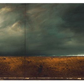"""WOLFGANG BLOCH - Untitled NO. 117, 2007.Oil on vintage wood. 23"""" X 48"""". Paul Naude CollectionBrowse Albums"""