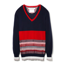 White Mountaineering - TRIANGLE PATTERN JACQUARD  V-NECK KNIT