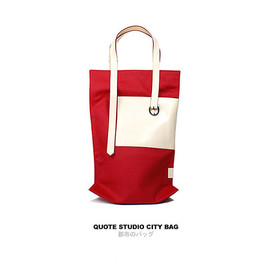 Quote Studio - QUOTE leather n canvas City Bag -- Red