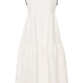MOTHER OF PEARL - SS2015 White Gudwin Cotton Waffle Tiered Dress