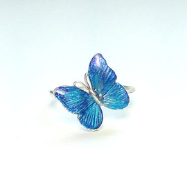 "Re:Cocoro - Tiny Butterfly Ring in Sterling Silver & Enamel""Morpho"""
