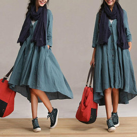 ETSY - New personalized linen blue cardigan dress / sleeve big swing around Irregular Dress