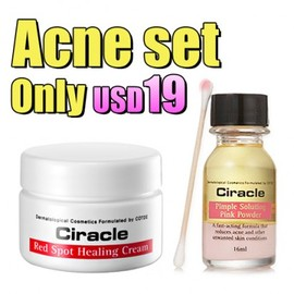Ciracle - Ciracle Pimple Solution Pink Powder + Spot Healing Cream Acne SET For Only USD 19