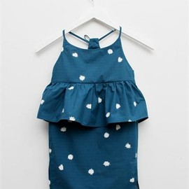 Creatures of Comfort - Lil Nora Dress- Pom Pom Print Teal