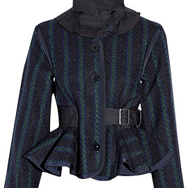 Sacai Luck - gabardine-trimmed tweed jacket