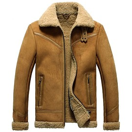 cwmalls - Mens Sheepskin Shearling Bomber Jacket