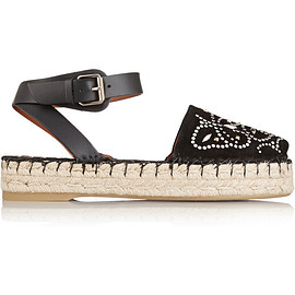 VALENTINO - Resort2015 Studded suede and leather espadrille sandals
