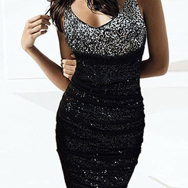 V Neck Sequined Paillettes Ruched Pencil Skirt Mini Bodycon Dress