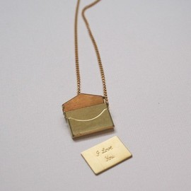 chainchainchained - little love note brass envelope charm