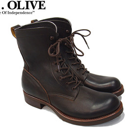 MR.OLIVE - WATER PROOF SHRINK LEATHER/LACE UP LOGGER BOOTS