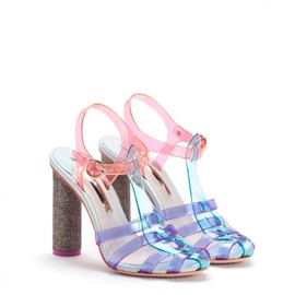 Purple & Green Colorblocked Violeta Sandals