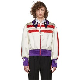 Gucci - Gucci - Red And White Silk Duchesse Elton John Jacket for Men - Lyst
