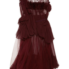 Nina Ricci - Asymmetric lace and ruffle-trimmed silk-chiffon dress