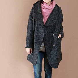 wool Coat - Dark gray loose fitting hooded Double breasted long wool coat/ women Plus Size wool Coat