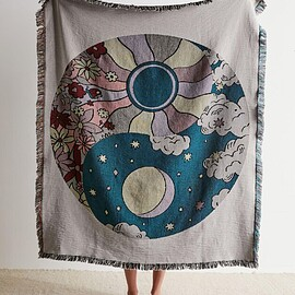 Urban Outfitters - Night And Day Yin Yang Woven Throw Blanket