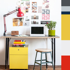 Colorful and inspiring workspace.