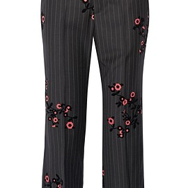 Marc Jacobs - Bowie flocked pinstriped wool-crepe straight-leg pants