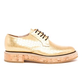 DRIES VAN NOTEN - Crocodile Embossed Metallic Leather Brogues